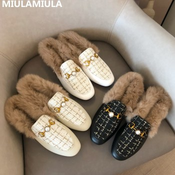 Size 35-41 Luxury Pearl Metal Chain Warm Real Hair Fur Slipper MIULAMIULA Brand 2020 Design Flat Leather Slides Mules Flip Flops - discount item  45% OFF Women's Shoes