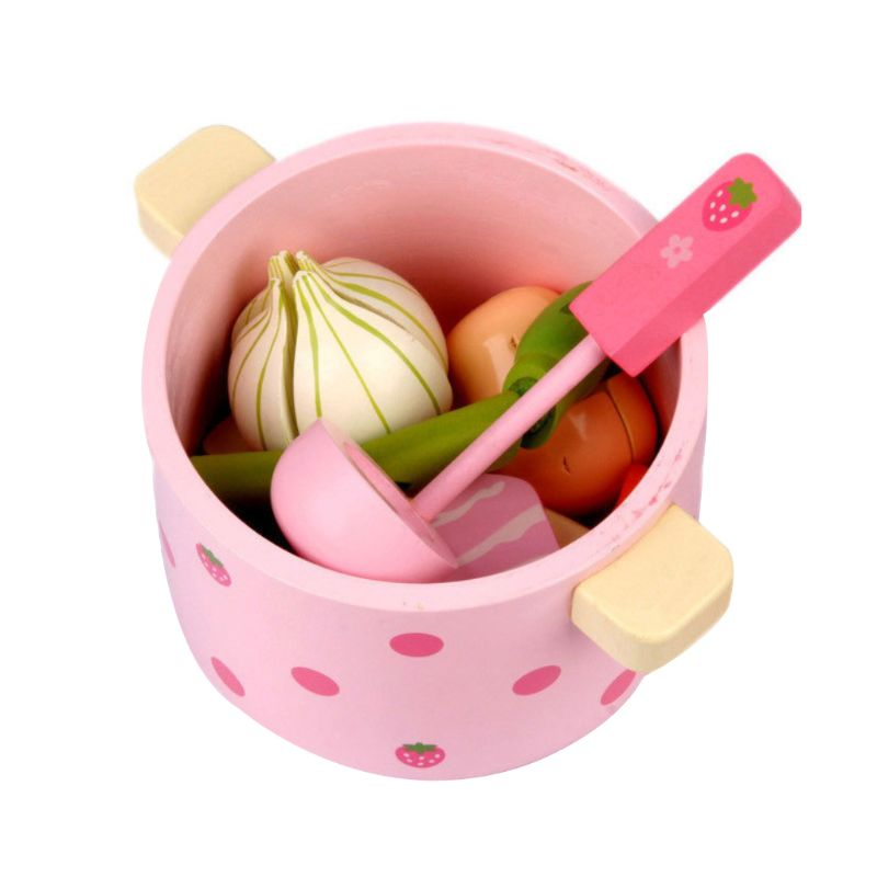 1Set Wooden Kitchen Tableware Tools Toy Play House Hot Pot Vegetable Toys For Christmas Birthday Party Gifts