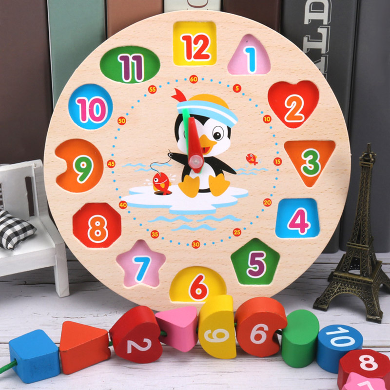 Preschool Children Colorful Digital Geometry Clock Cartoon Penguin Wooden Math Toy Teaching Time Number Early Education Toy