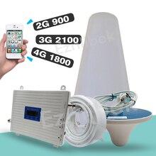Celular 65db com tri band booster, gsm 900 + dcs/lte 1800 + umts/wcdma, 2100 mhz repetidor de sinal, 2g 3g 4g amplificador de sinal de rede