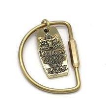Retro Brass Simple D-Shaped Keychain Fine Copper Car Key Ring Cool Men And Women Large Size Key Ring Anti-loss(China)