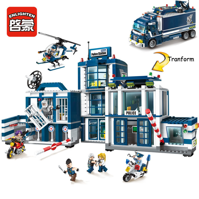 Qman 1918 951pcs Compatible City Mobile Police Station Battle Force 2in1 Educational Building Block Toys 7 Figures for kids gift