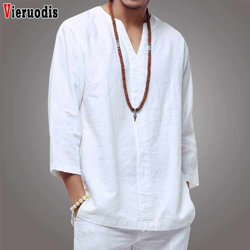 Chinese style <font><b>Men</b></font> <font><b>linen</b></font> <font><b>shirt</b></font> Casual Baggy <font><b>Men</b></font> <font><b>Shirt</b></font> white soft three quarter <font><b>shirt</b></font> Thin <font><b>Vintage</b></font> <font><b>Shirts</b></font> Camisa masculina image