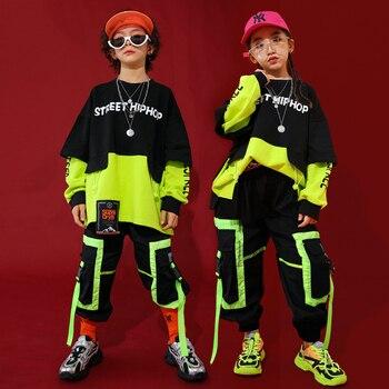 Moda jazz trajes de dança crianças hiphop rave outfit rua dança prática vestir costura palco desempenho roupas dc3098
