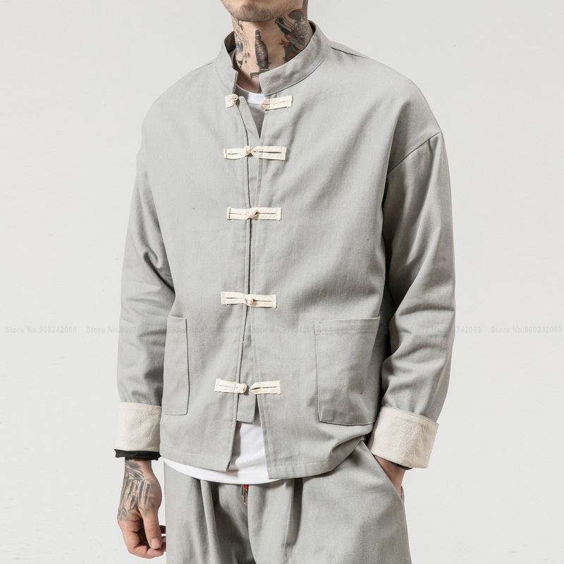 Мужской костюм ханьфу в китайском стиле, топ и штаны, костюм Тан, комплект кунг фу тайцзи, хлопковая льняная футболка, Восточная модная одежда|Топы| | АлиЭкспресс