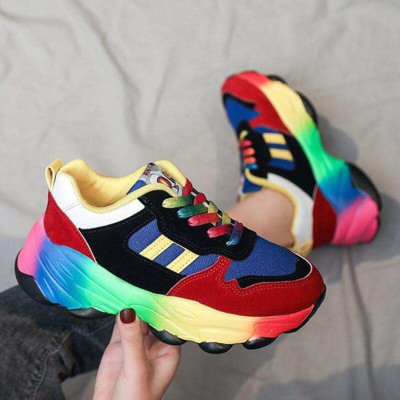 Mhysa 2020 New Casual Women Fashion Sneakers Flat Ladies Vulcanized Shoes Female Platform Chunky Women Sneakers Tenis Feminino