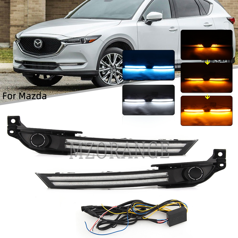 2 Pcs Dynamische LED DRL für Mazda CX-5 CX5 2017 2018 2019 Tagfahrlicht Mit Fließende Gelb Drehen Signal lampe Nebel Licht