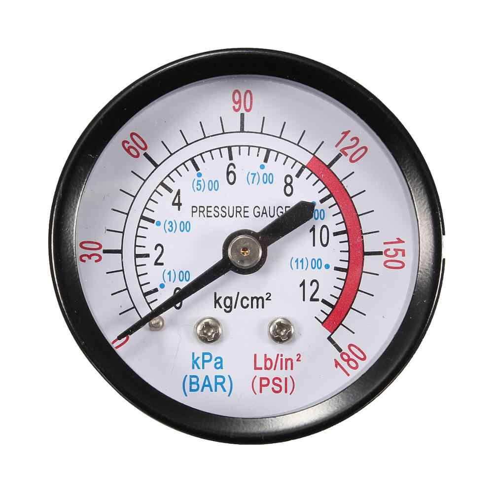 Bar Alat Ukur Tekanan Udara 13Mm 1/4 BSP Benang 0-180 Psi 0-12 Manometer Double Skala untuk air Compressor Besi Diameter Sekitar 52Mm