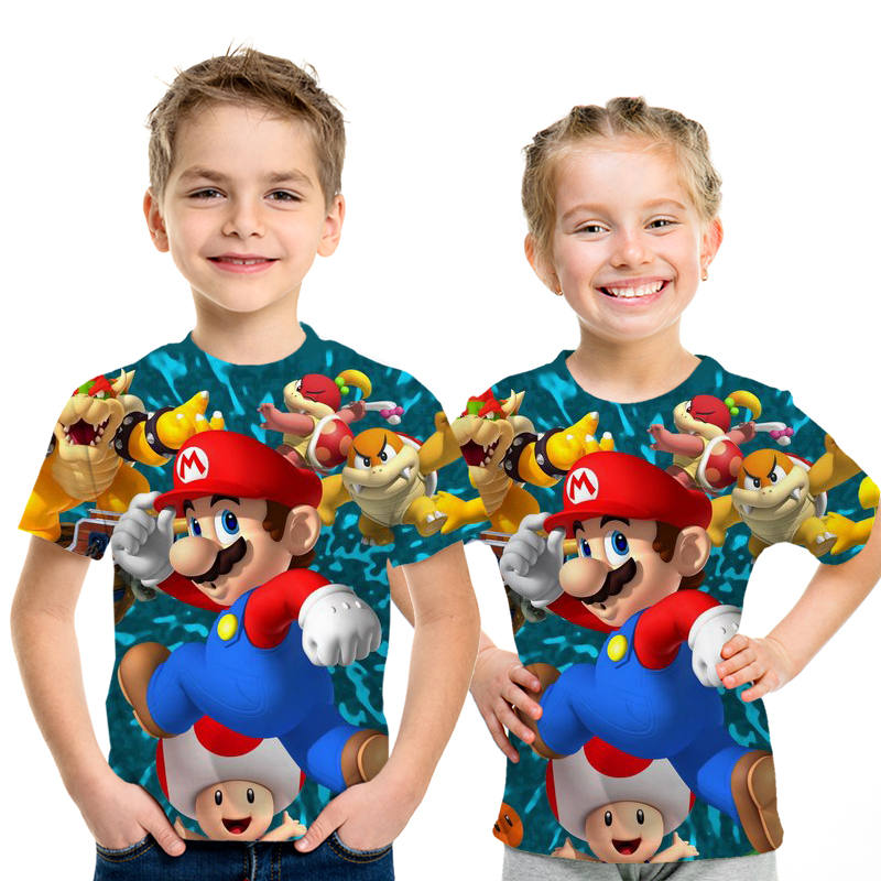Kids Short Sleeve Cartoon T Shirt Girl 3D Printed Super Mario Tees Baby Boy New Tshirts Child Casual Clothes Summer Tops 4T-14T