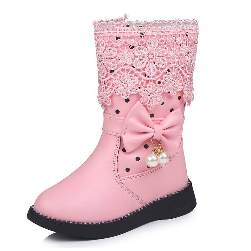 Children Girls Fashion Ankle Boots Princess Casual Shoes 4-12 Years Old Kids Autumn Winter Short Single Boots 4.5-5 Years Old, Pink