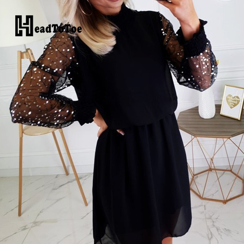 Women Beading Mesh Long Sleeve Pacthwork Slim Casual Mini Dress