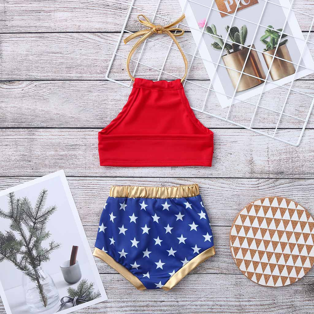 Independence Day America National Flag Little Girl American-Style Bathing Suit Two-Piece Set Little Star Printed Halter Swim Bat