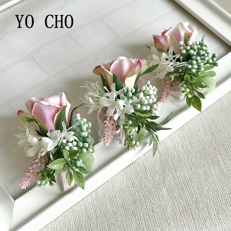 YO CHO Silk Rose Brooch Bridesmaids Boutonniere Men Wedding Corsage Bracelet Flowers Wedding Boutoninere Planner Corsage Flowers