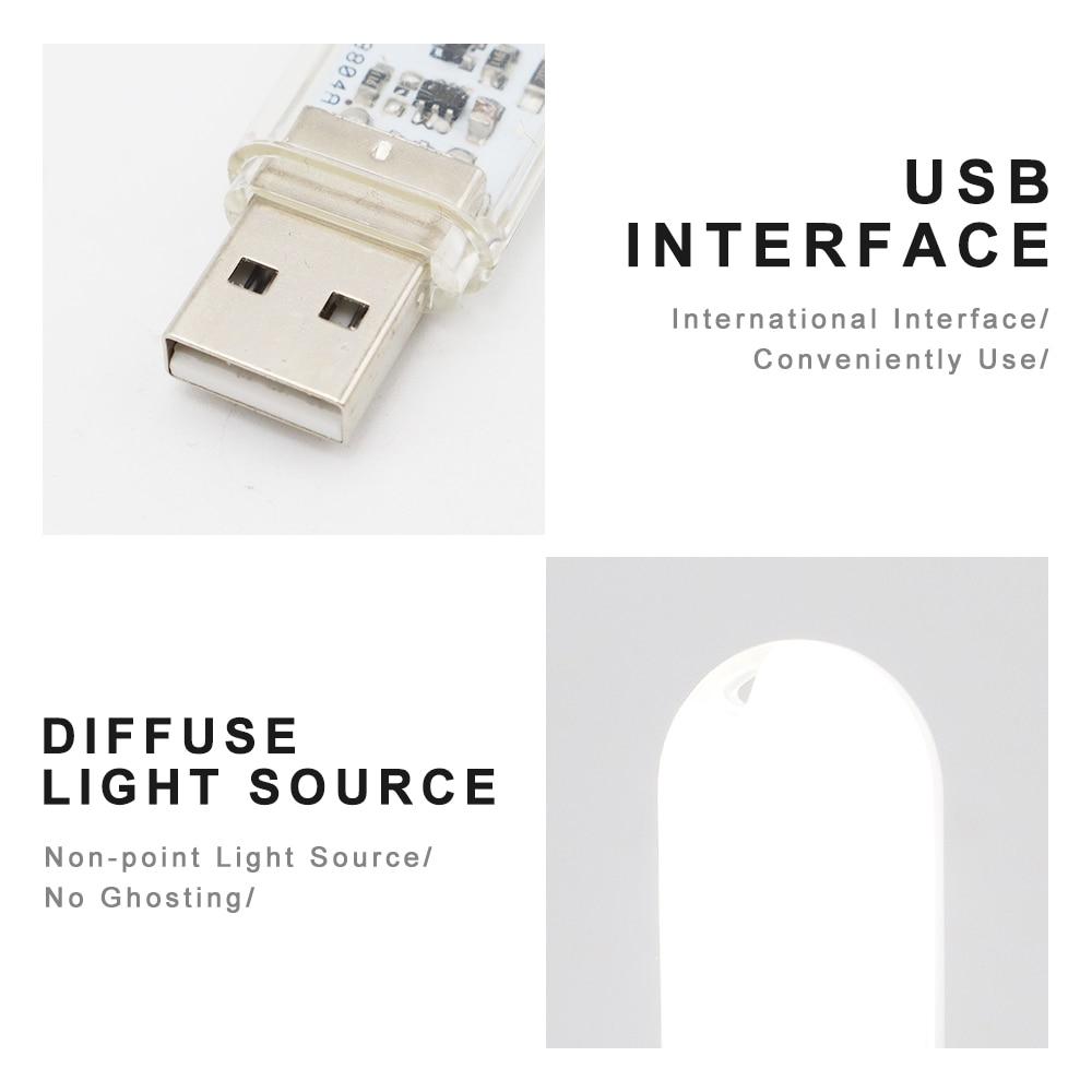 DC5V Touch Switch USB Mini LED Book Lamp 3LEDs 1.5W Portable LED Reading Light USB LED Night Light Camping Bulb For Power Bank 3