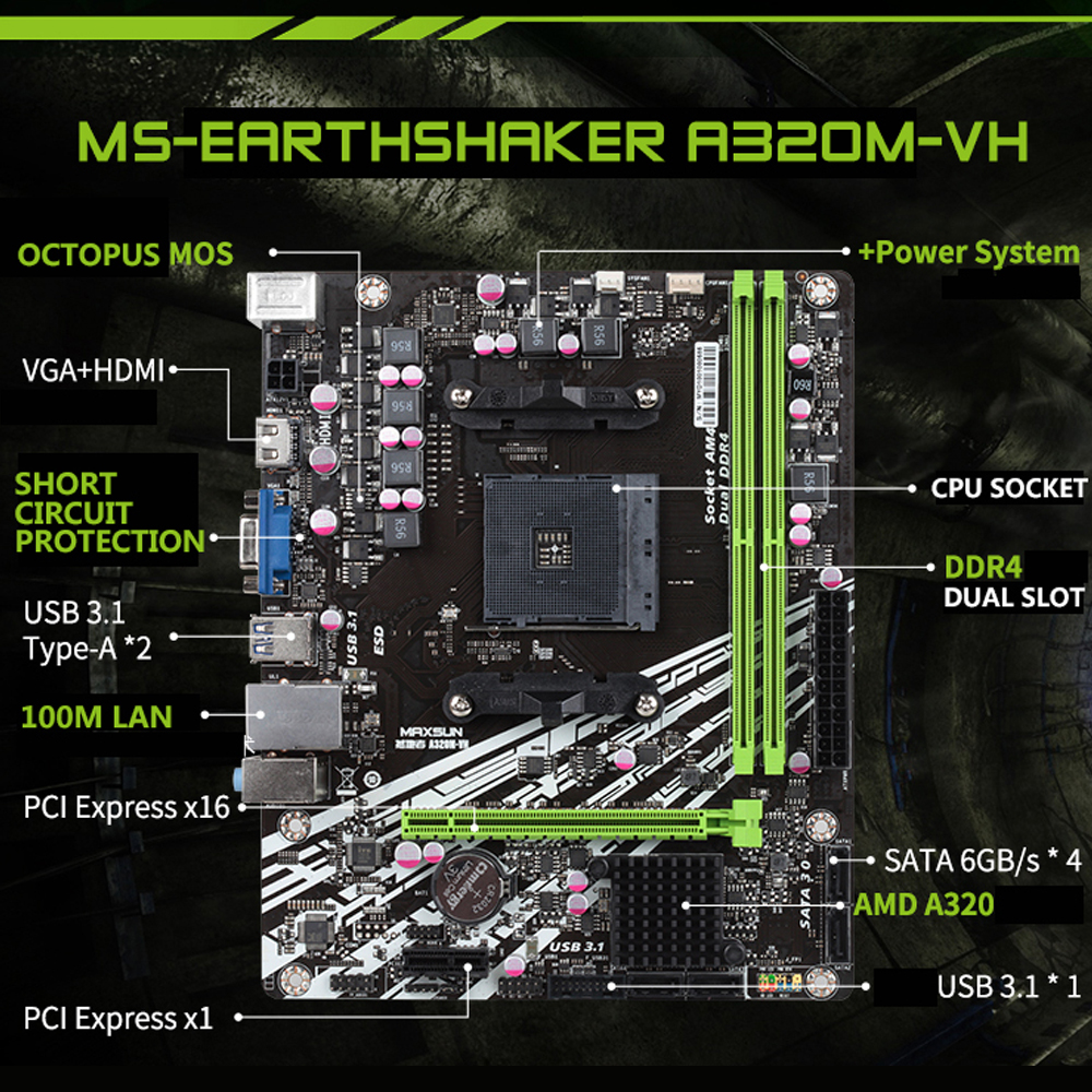 Carte mère d'origine MAXSUN ms-earth shaker A320M-VH AMD mATX double canal DDR4 Gigabit LAN 4 x SATAIII USB3.1 VGA HDMI - 2