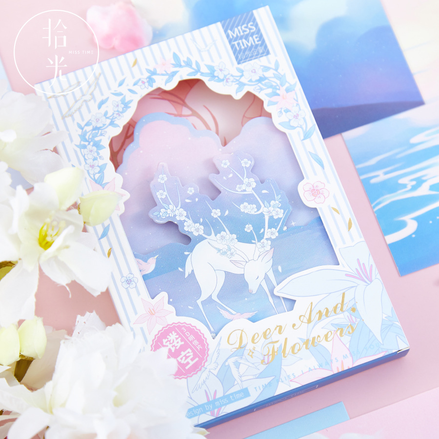 Deer And Flowers Hollow Postcard DIY Illustration Greeting Cards Message Card  Journal Decoration 30Pcs/Lot