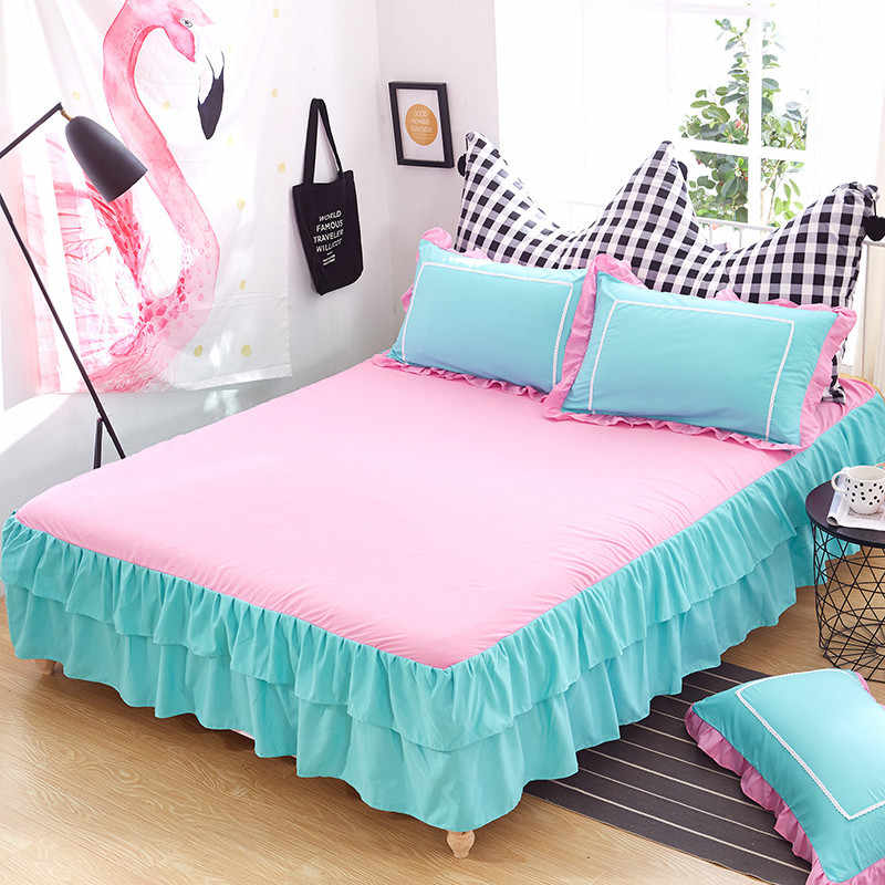 Double Stitching Lotus Leaf Bed Skirt Pillowcase Student Dormitory Solid Color Brushed Non-Slip Bed Cover Bedroom Bed Sheets