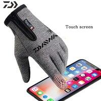 Daiwa guante de pesca impermeable caliente hombres invierno escalada antideslizante dedo completo Led dedo ligero guantes cremallera ropa de pesca Guantes de pesca    -