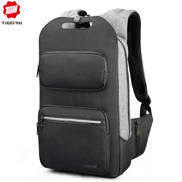 Tigernu Brand Quality Fashion School Backpack For Men 15.6inch Student College Male Mochila USB Charging Men Backpack Anti theft