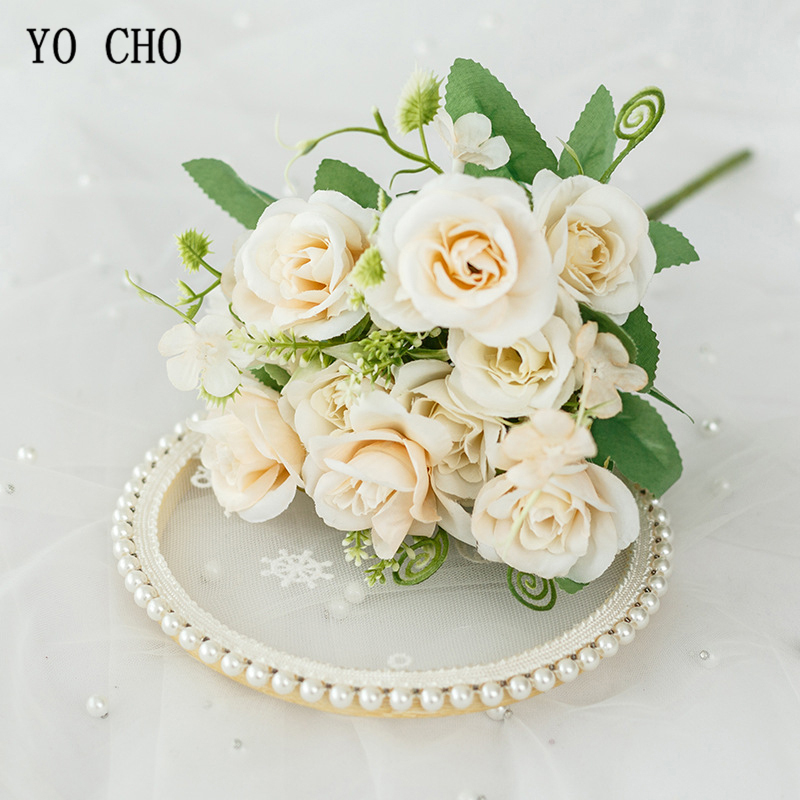 10 Heads Artificial Flowers Rose Bunch Silk Flores Rose For DIY Wedding Home Party Decoration Valentine Mother's Day Gift Floral