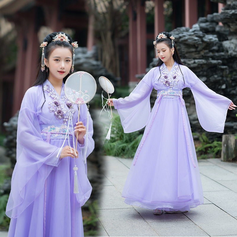 Purple Hanfu Women Dance Costumes Chinese Embroidery Fairy Dress Folk Festival Outfit Stage Rave Performance Clothing DC3446