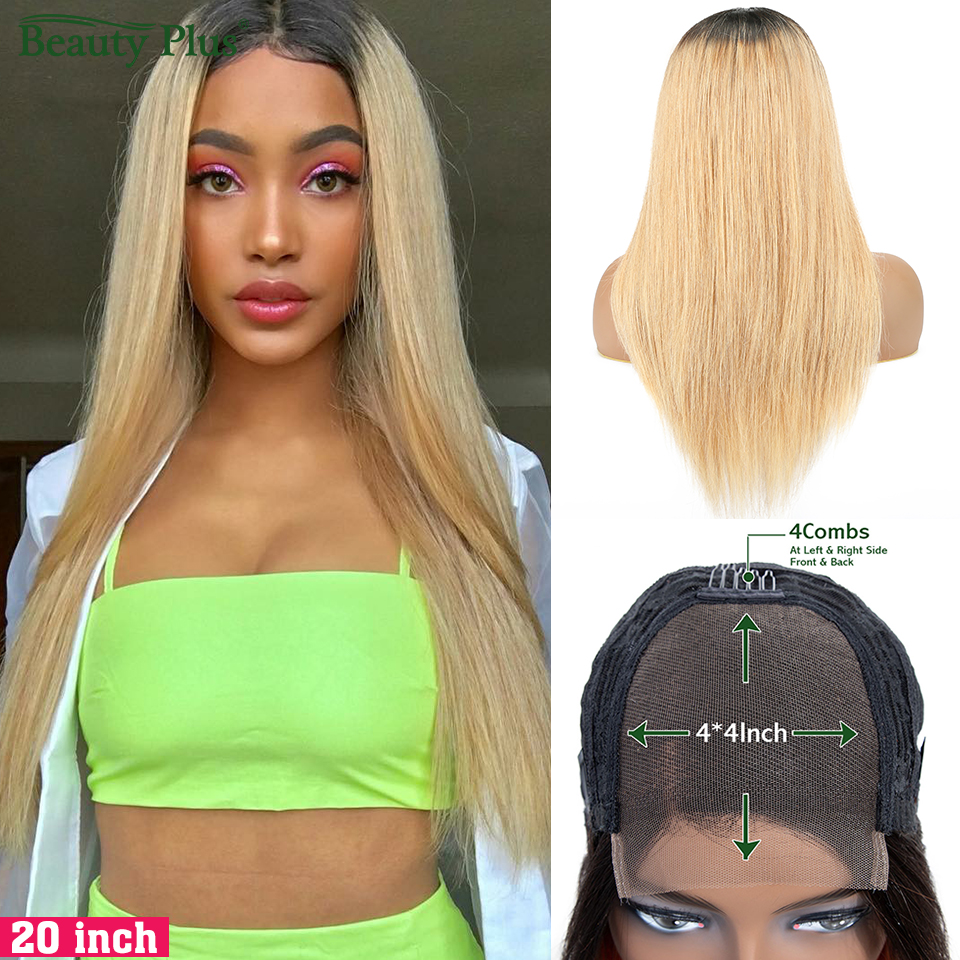 Brazilian Straight 4*4 Lace Closure Wigs Ombre Blonde Colored Human Hair Wigs 150 Density Pre Plucked Lace Wigs Non-remy Hair