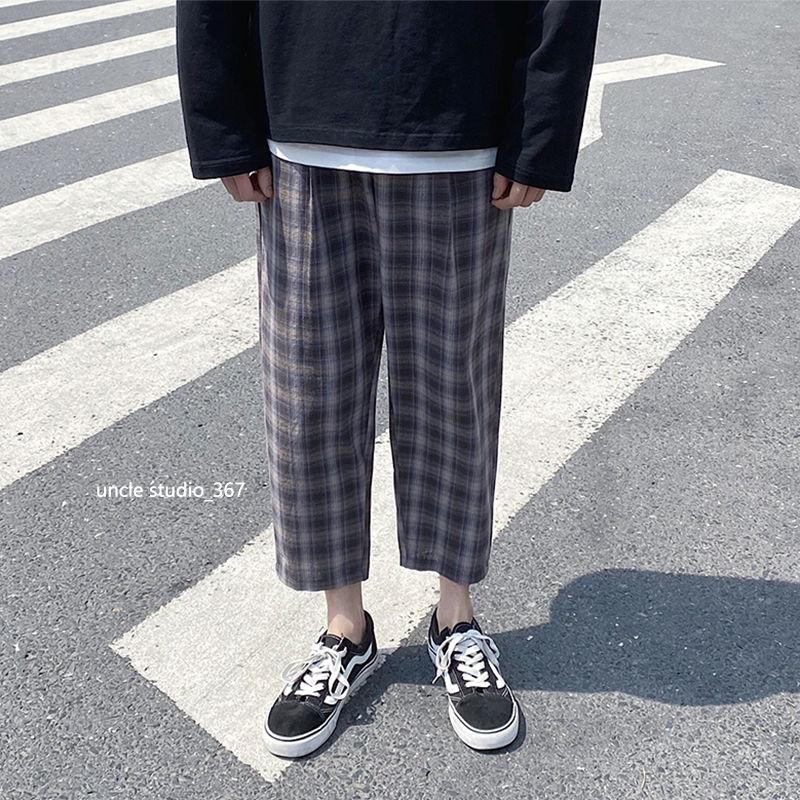 Summer Thin Section Plaid Pants Men's Fashion Retro Cotton Straight Pants Men Streetwear Loose Casual Pants M-5XL