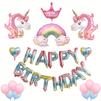 New Cartoon Birthday Air Balloon Set Birthday Decoration Party Supplies Unicorn Letter Balloon Toys For Children