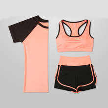 3PCS Set High Waist Pants Sports Bra Yoga + Short Sleeve Top Shorts Womens Running Gym Fitness