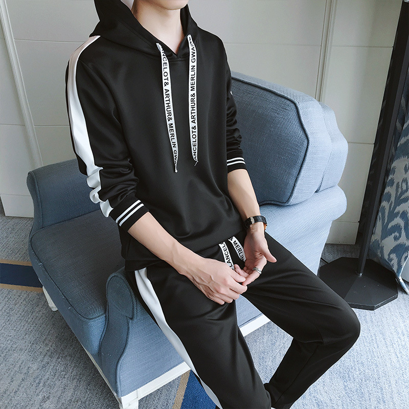 Spring And Autumn Men Long-sleeve Sweater Set Korean-style Trend Handsome Men'S Wear Spring Clothing Teenager Students Athletic