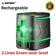 Sndway Rechargeable Green Laser Level 2 Lines Lazer Level Instrument Cross Line Laser Self-leveling Laser-level Nivel Line Laser aculine ak437g green 2 lines green laser level green ray level