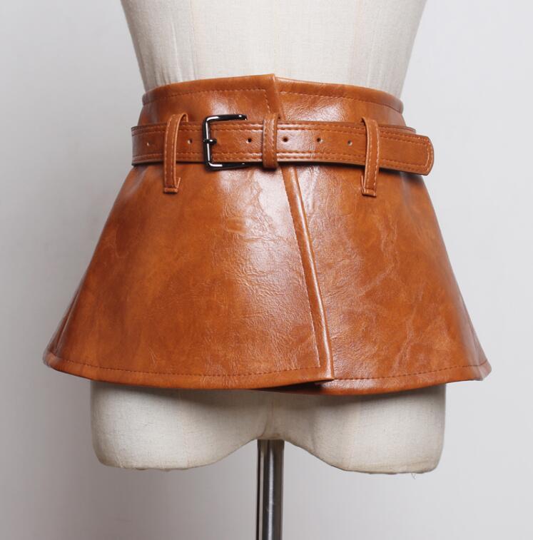 Women's Runway Fashion Vintage Pu Leather Cummerbunds Female Dress Corsets Waistband Belts Decoration Wide Belt R2411