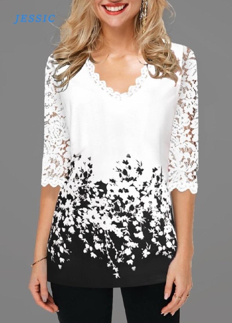 Женская блузка JESSIC размера плюс 4xl 5XL, весна 2020, Новые Топы с v образным вырезом и коротким рукавом, кружевная блузка с принтом|Блузки и рубашки|   | АлиЭкспресс