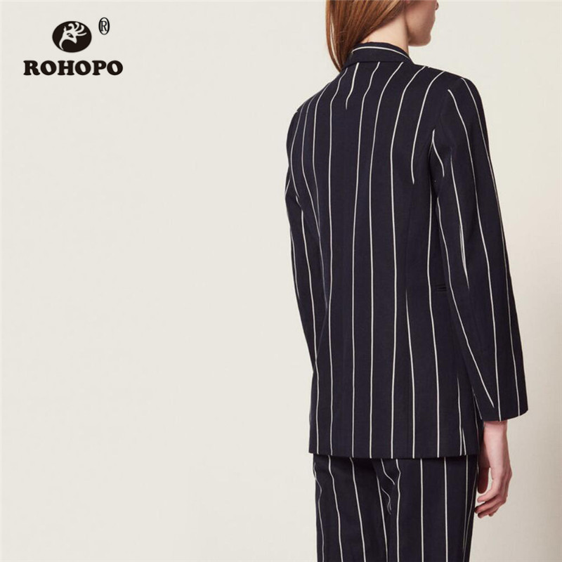 ROHOPO Notched Collar Vertical Striped Side Welt Pockets Slim Blue Blazer Double Buttons Asymmetric Flay Elegant Outwear #6919