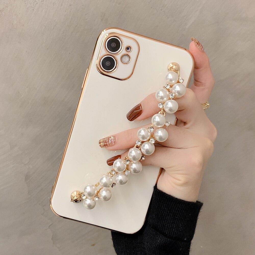 12 ProMax mini 6D plating Wrist Chian Strap phone case For iPhone11 Pro MAX 7 8 Plus X XR XS Max Blingbling Pearl bracelet Coque