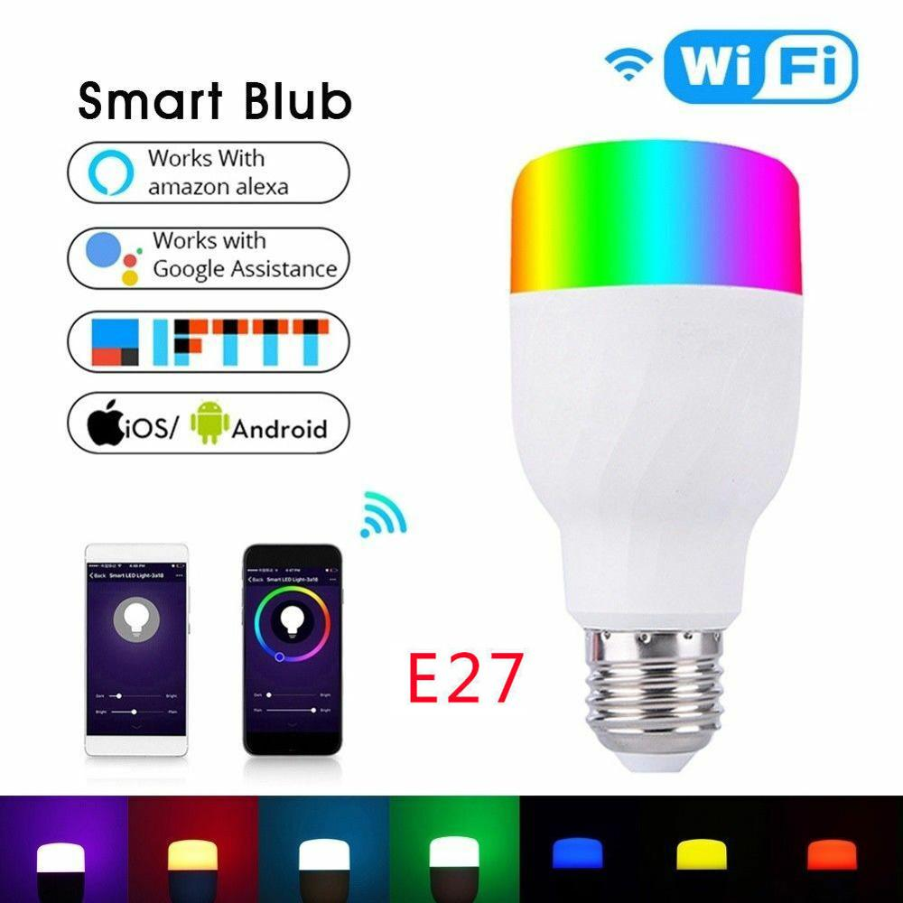 Voice Control Smart WiFi LED Light Bulbs RGBW E27 Dimmable RGB Color Smartphone Controlled LED Lamp Amazon Alexa, Google Home