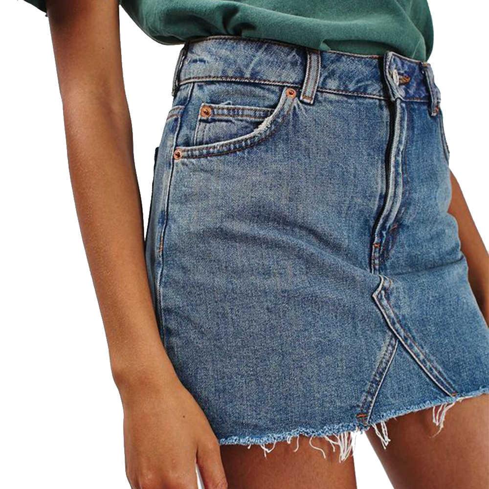 2019 kobiet letnie dżinsy spódnica jednolity kolor Bodycon Casual linia wysokiej talii boczna kieszeń spódniczki dżinsowe kieszeń moda Streetwear