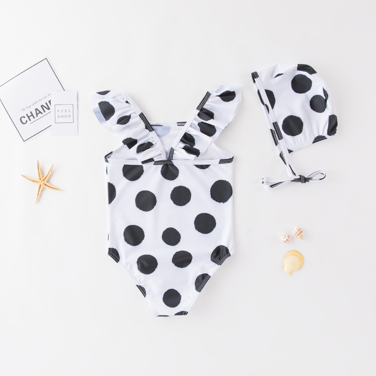 Women's One-piece Swimming Suit Black With White Dots Bei Dai Kuan KID'S Swimwear Hot Springs Clothing