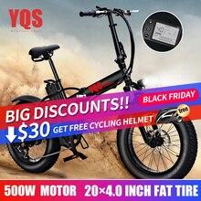 YQS Новинка 500 Вт bmx велосипед Снежный велосипед горный электрический велосипед 20 Дюймов 4,0 толстых шин пляжный Электрический велосипед