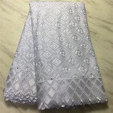 Più nuovo Bianco del cotone Africano Tessuto Del Merletto di alta qualità 2020 Merletto Svizzero Del Voile In Svizzera Con Le Pietre per Gli Uomini e Le Donne RG967
