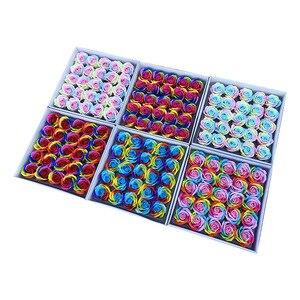 Image 1 - 25 sztuk/zestaw kolorowe mydełka w kształcie róży kwiaty ozdobne mydło w kształcie kwiatka płatek ślub dobrodziejstw prezent na walentynki Rainbow bukiet róż