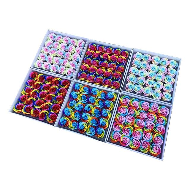 25 sztuk/zestaw kolorowe mydełka w kształcie róży kwiaty ozdobne mydło w kształcie kwiatka płatek ślub dobrodziejstw prezent na walentynki Rainbow bukiet róż