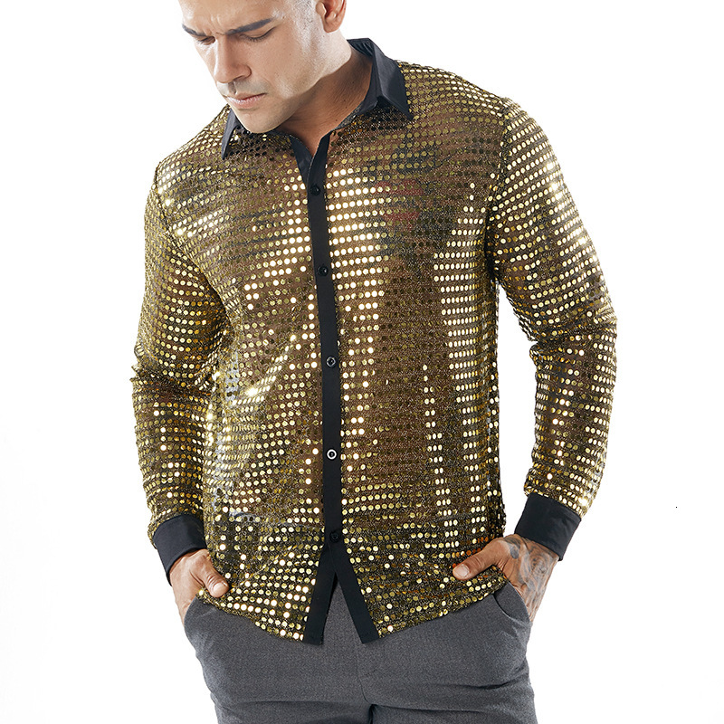 Shiny Gold Sequin Glitter Slim Fit Long Sleeve Shirt Men  Fashion Sexy See-through Shirt for Men Nightclub Stage Prom Shirt