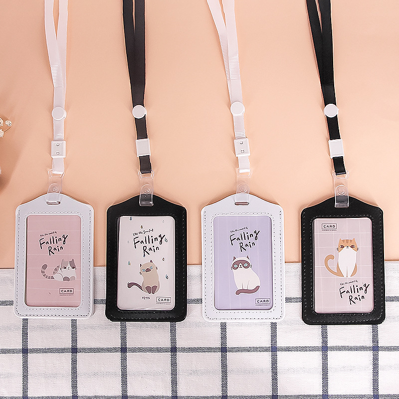 Cute Cat English Card Holder Hard IC Certificate Holder Keychain Meal Card Students Access Control Bus Fresh Card Holder Bus