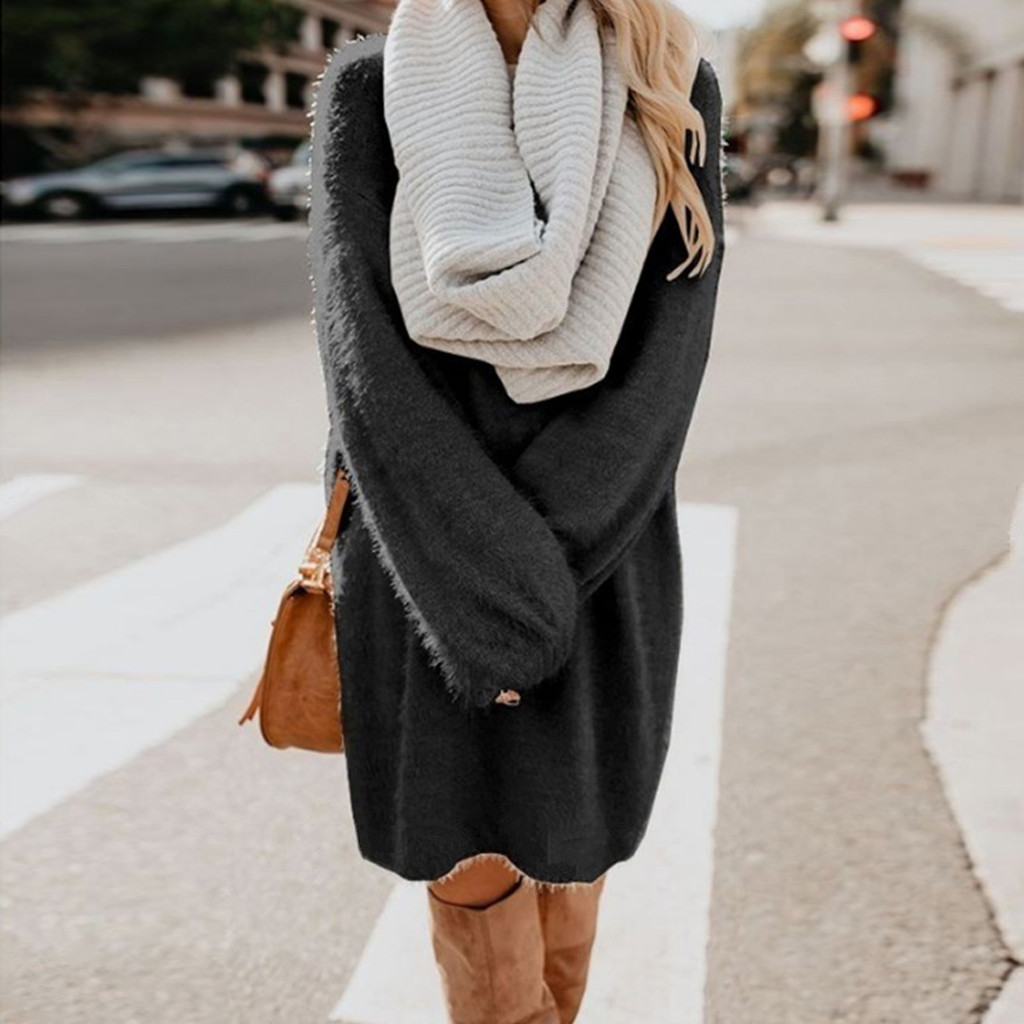 Women Sweater Dresses Casual Winter Thick Knit Turtleneck Warm Long Sleeve Pocket Pullovers Sexy Mini Sweater