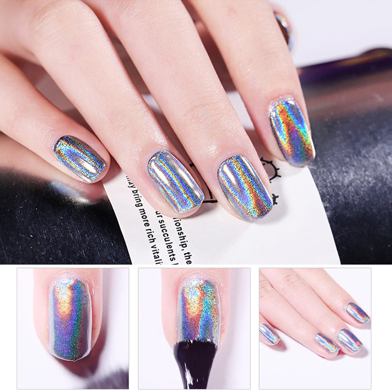 1 Box Glitter For Nails Holographic Dip Powder Mirror Polishing Chrome Pigments Nail Art Decorations Laser Dazzling Dust