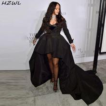 Женское вечернее платье с длинным рукавом черное Плиссированное