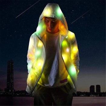 Chaqueta Casual Hip Hop cortavientos chaqueta LED marca marea hombres y mujeres abrigos con capucha para los amantes de la ropa pareja luminosa ropa 10,11