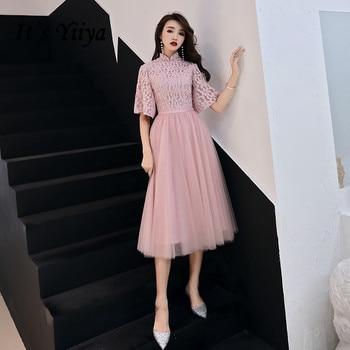 It's Yiiya Prom Dresses Elegant Stand Neck Half Sleeve vestidos de gala Plus Size Tea Length Dress Women Party Night LF153 - discount item  37% OFF Special Occasion Dresses