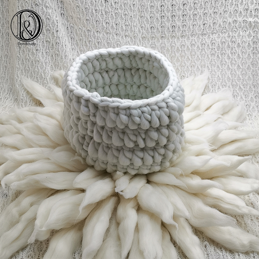 Don&Judy Diameter 65cm Wool Blanket + Basketry +150x100cm Backdrop Set Photo Newborn Blanket Background For Photo Shoot Prop